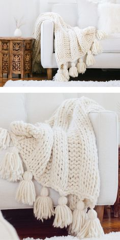 Chunky Blanket with Tassels Easy Chunky Knitted Blankets Free Patterns. Take a look at this fluffy amazing Chunky Blanket with Chunky Yarn Blanket, Big Knit Blanket, Chunky Knit Throw, Chunky Wool, Merino Wool Blanket, Knitted Throw Patterns, Knitted Blankets, Diy Blankets, Fluffy Blankets