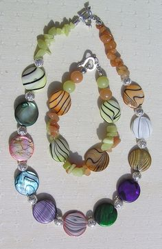 Necklace & Bracelet Set  Mother of Pearl Yellow by SunnyCrystals, $29.75