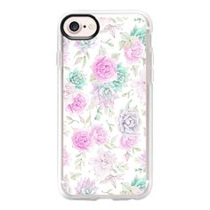 Pastel pink turquoise watercolor hand painted cactus floral - iPhone 7... ($40) ❤ liked on Polyvore featuring accessories, tech accessories, iphone case, iphone cover case, floral iphone case, iphone cases, clear floral iphone case and clear iphone case