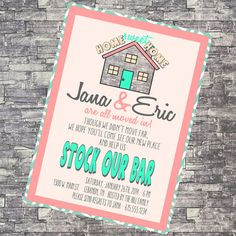 Custom High Resolution Housewarming Stock The Bar Home Sweet Home Hipster DIY Printable Party Invitation