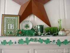 Get inspired to make a St. Patrick's Day Mantel with tips from Walmart Mom Liz.  Find supplies for your mantel at your local #Walmart.