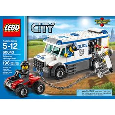 LEGO City 60043 Prisoner Transporter Truck New/Sealed 196pcs Ages 5+ Retired NIB #LEGO
