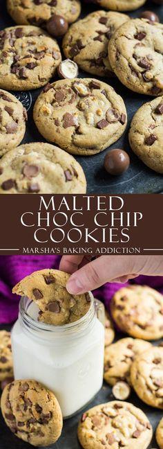 Malted Chocolate Chip Cookies | http://marshasbakingaddiction.com /marshasbakeblog/