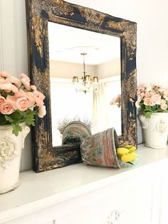Shabby Chic Mirror Navy Blue with Gold Farmhouse Wall Mirrors, Rustic Wall Mirrors, Ornate Mirror, Farmhouse Decor, French Farmhouse, French Country, Farmhouse Style, Oversized Wall Mirrors, White Wall Mirrors