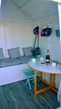 Inside our hut - Modern Beach Hut Shed, Beach Huts, She Shed Decorating Ideas, Beach Hut Interior, Small Summer House, Summer House Interiors, Shed Homes, Storage Design, Little Houses