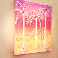 Palm Tree painting Drawing Sketches, Drawings, Drawing Ideas, Palm Tree Pictures, Tree Paintings, Canvas Paintings, Diy Canvas, Paint Party, Stargazing
