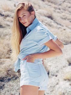 High-Waist Jean Cuff Short + Denim Short Sleeve Button-Up with Pocket. #AmericanApparel
