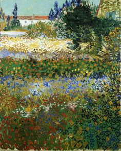 The Athenaeum - Garden with Flowers (Vincent van Gogh - )