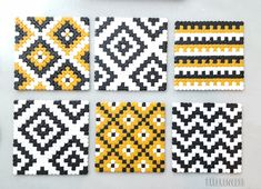 Geometric Coasters pixel art Perler Hama beads coaster 8 bit home decor nerd decoration Geek gift Geometric Coasters pixel art Perler Hama beads coaster 8 bit Perler Bead Designs, Hama Beads Design, Hama Beads Patterns, Beading Patterns, Loom Patterns, Art Patterns, Quilting Patterns, Hama Beads Coasters, Diy Perler Beads