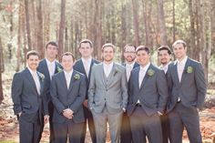 Groom and Groomsmen in different colors of grey! :  wedding charcoal darker grey different groom gray grey groomsmen mens wearhouse suits tux 120119515031644654 N5nbeZq7 C Pinned Image