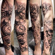 #angel #clockwork #skull #roses #sleeve Tattoo #tattoos #ink #lyon…