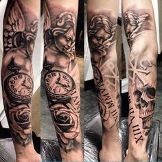 I want an angel looking down on a pocket watch (looking left not right) set to 8:30 with a rose below and his birth date in Roman numerals.. no skull