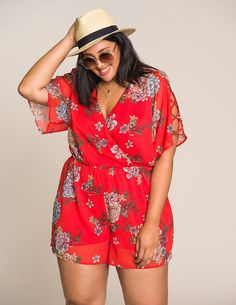 Plus Size Floral Wrapped Romper $33.99
