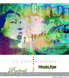 Trublion's Work : Portrait au trait sur fond de couleurs, Peinture numérique sur toile au format A3.