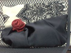 Spanish red Rose Midnight Black Satin Purse. by ProdigalPurses