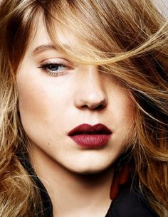 burgundy / berry lips   Lea Seydoux Elle France