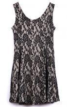 Black Sleeveless Bilayer Lace Tank Dress #Sheinside