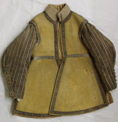 The Buff Leather Coat reputed to belong to Parliamentary commander Sir Thomas Fairfax (1612-1671) in York Castle Museum, England ~ the design of the coat and style of braid points to a date of manufacture of around 1635-1640 ~ Between 1639 and 1640 Fairfax took part in the so-called 'Bishops' Wars' against Scotland and led a company of Yorkshire dragoons and could possibly have worn this very coat.