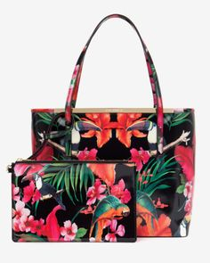 Tropical toucan shopper bag - Black | Bags | Ted Baker