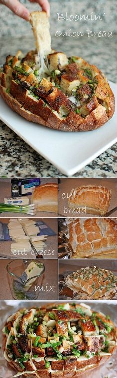 1 unsliced loaf sourdough bread 12-16 ounces Monterey Jack cheese, thinly sliced 1/2 cup butter, melted 1/2 cup finely diced green onion Instructions Preheat oven to 350 degrees. Cut the bread lengthwise and widthwise without cutting through the bottom crust. Place on a foil-lined baking sheet. Insert cheese slices between cuts. Combine butter, onion Drizzle over bread. Wrap in foil; place on a baking sheet. Bake at 350 degrees for 15 minutes. Unwrap the bread and bake 10 more minutes,