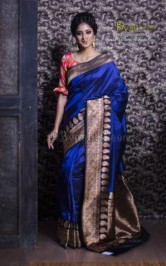Pure Handloom Katan Silk Banarasi Saree in Royal Blue and Black Royal Blue Saree, Blue Silk Saree, Tussar Silk Saree, Orange Saree, Chiffon Saree, Cotton Saree, Traditional Sarees, Traditional Fashion, Indische Sarees