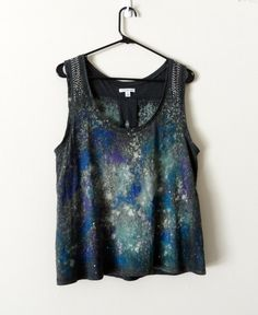 Large Upcycled Grey Tank Top With Galaxy