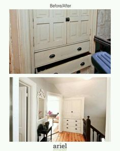 Rehab addict - Case Ave hallway with built-in. Before/ after by Ariel Photography