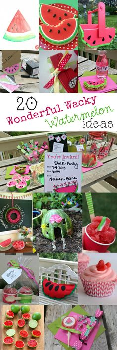 20 Watermelon Crafts, Recipes & a Giveaway Watermelon Crafts, Watermelon Baby, Watermelon Birthday, Watermelon Ideas, Summer Crafts, Fun Crafts, Crafts For Kids, Autumn Activities For Kids, Spring Activities