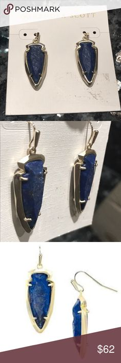 🆕Kendra Scott Katelyn Earring Blue Lapis New ,Never worn ,authentic Kendra scott earrings with raw cut blue lapis . *Think dark denim with flecks of gold. Natural stone so no two exactly alike. Pic tries to capture the textured center while sides are angled cut polished. Set in yellow gold plate over brass the setting has sheen but not shiny. The card has some minor smudge. Kendra pouch included! Kendra Scott Jewelry Earrings