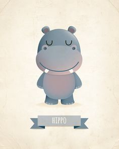 Hippo art print, nursery art, illustration, animal art, kids room decor…