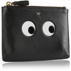 Anya Hindmarch Eyes small embossed textured-leather pouch (1.020 BRL) via Polyvore featuring bags, handbags, travel zipper pouch, pocket purse, travel pouch, travel handbags e cell phone pouch purse