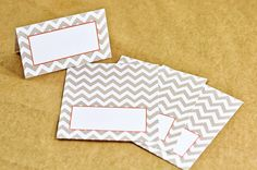 Gorgeous Wedding Place Cards With Chevron Design by I Do Tags. Comes in many color options: gray, mint, pink, & more! @etsy