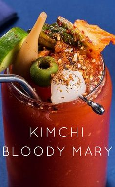 This Korean version of the Bloody Mary  is light and refreshing, with a savory underbelly from fish sauce, a touch of sweetness from soju, akick from a mixture of kimchiand powderedwasabi, and a salty-spicy punch from the rim of togarashi, a Japanese spice blend.