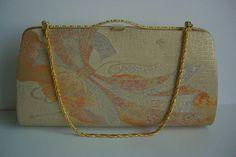 Wedding handbag or clutch purse:  vintage Japanese, pale gold brocade by Kinwashi, c.1985