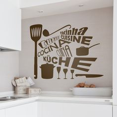 kitchen decals for walls highest clarity pics – Decoration ideas Kitchen Feature Wall, Vans Era, Design Food, Bless The Food, Elderly Home, Kitchen Wall Stickers, Design Furniture, Shop Signs, Vinyls