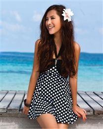 GainReel Spring Summer Style Sexy Neck-Tied Dotted Pattern Tankini Women Swimwear 2Pcs