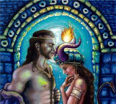 """""""King Solomon & the Demoness Onoskelis"""" by NYC visionary artist Mani C. Price, who paints on the topic of feminine empowerment. See more of her story on www.ArtsyShark.com"""