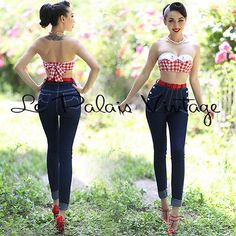 Le Palais Vintage Double Breasted High Waist Skinny Jeans - Designed by Winny