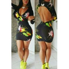 USD8.99Sexy V Neck Long Sleeve Print Backless Polyester Sheath Mini Dress