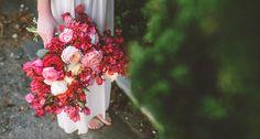 bride's bougainvillea, ranunculus, garden roses, peach roses wedding bridal bouquet
