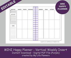 MINI Happy Planner Vertical Weekly Insert Editable Printable