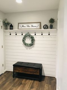 Nickel gap wall with shelf and hooks to hang coats. Home Renovation, Home Remodeling, White Shiplap Wall, Shiplap Ceiling, Porches, Ship Lap Walls, Home Living Room, Entryway Decor, Home Projects