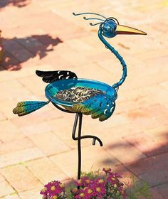 Fun Birdbath Yard Garden Stake Metal & Glass Flamingo Colorful Flamingo Whimsy