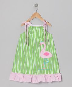 Take a look at this Green & Pink Flamingo Ruffle Dress - Toddler & Girls by Petite Palace on #zulily today!