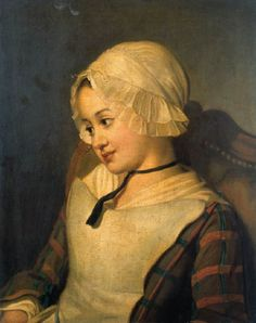 A young girl wearing a mop-cap, seated half-length, in a chair. (An attribution to Jean-Francois-Gilles, called Colson (1753-1803) has been suggested)