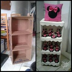 Mark a gifted and creative friend 😍😍 … - Dekoration Ideen 2019 Diy Cardboard Furniture, Cardboard Crafts, Paper Crafts, Cardboard Boxes, Diy Home Crafts, Diy Arts And Crafts, Crafts For Kids, Diy Para A Casa, Minnie Mouse Party