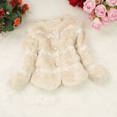 2014 Kids fashion Faux Fur Lace winter jackets baby girl autumn down & parkas children wadded jacket,jacket,clothing,suit,kid