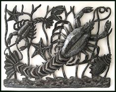 "Lobster - Haitian Metal Art Wall Decor & Home Accessories - 24"" x 17"" - $69.95  - Steel Drum Metal Art from  Haiti - Interior Decor or Garden Décor   * Found at  www.HaitiMetalArt.com Fish Designs - Fish Art - Fish Wall Hanging - Haitian Metal Art - Recycled Steel Drum Art of Haiti, Metal Wall Decor - Handcrafted Metal Art - Haitian Art – Haitian Steel Drum Metal Art – Metal Wall Hanging – Metal Wall Art of Haiti - Haiti - Metal Art - Haitian  Home Décor -"