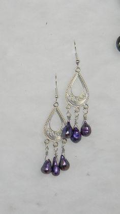 Purple pearl chandelier earrings, also available in cobalt blue czech glass  $7.95 usd