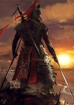 Samurai, Digital Art by Sina Pakzad Kasra Fantasy Male, Fantasy Warrior, Fantasy World, Dark Fantasy, Dark Warrior, Katana Samurai, Samurai Art, Samurai Warrior, Character Inspiration